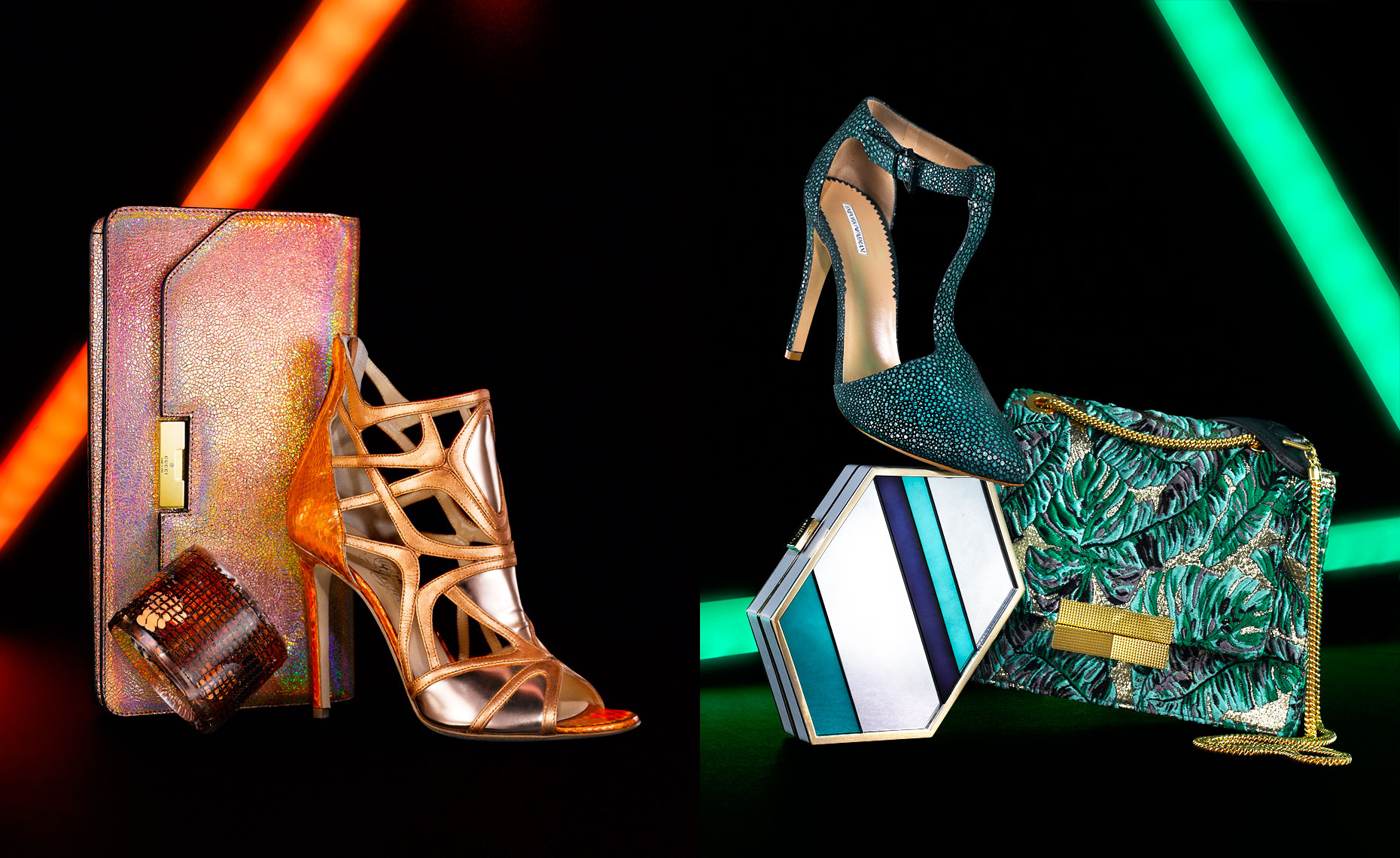 Shoes and Clutches with Neon