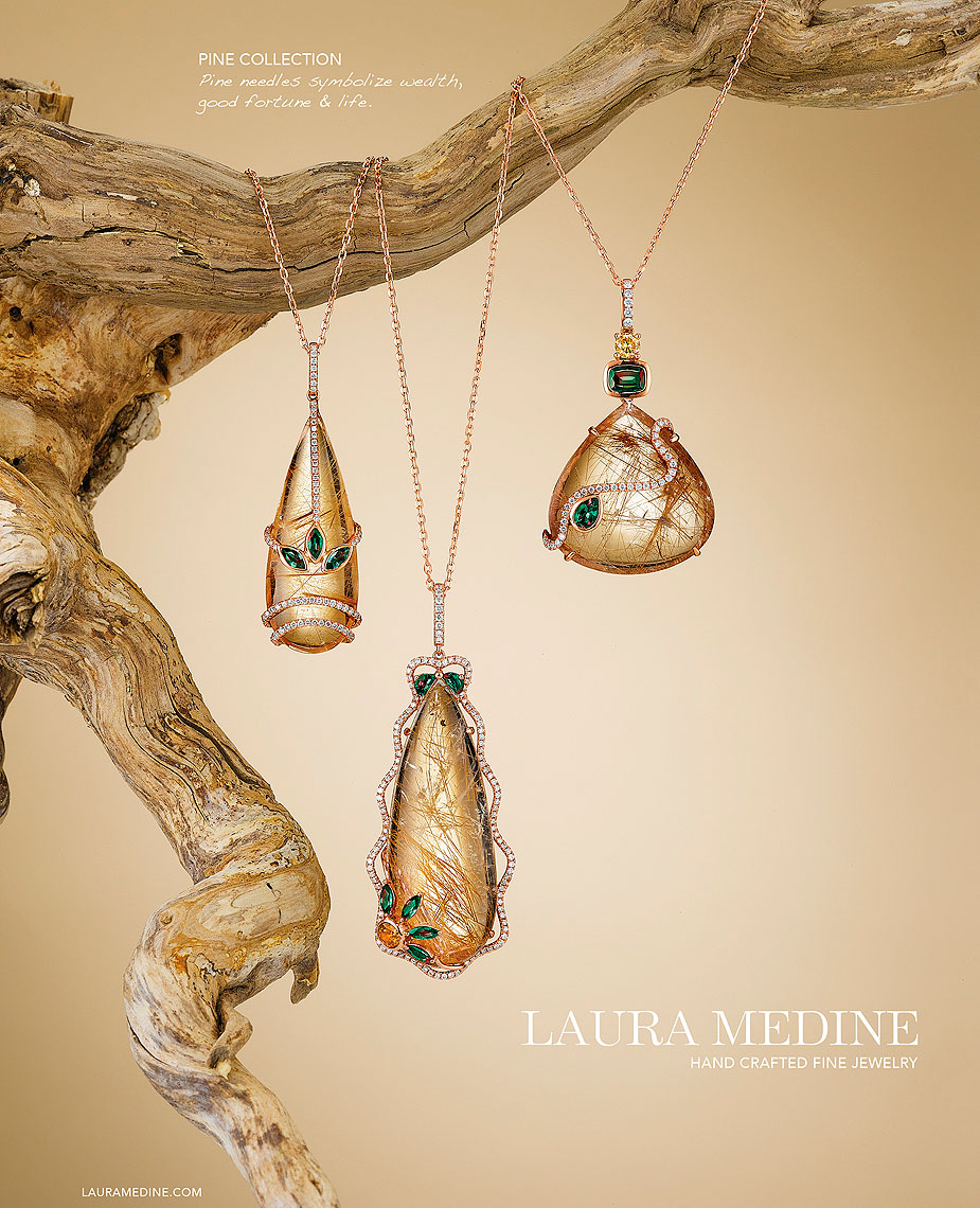 Laura Medine Rutilated Quartz Pendants
