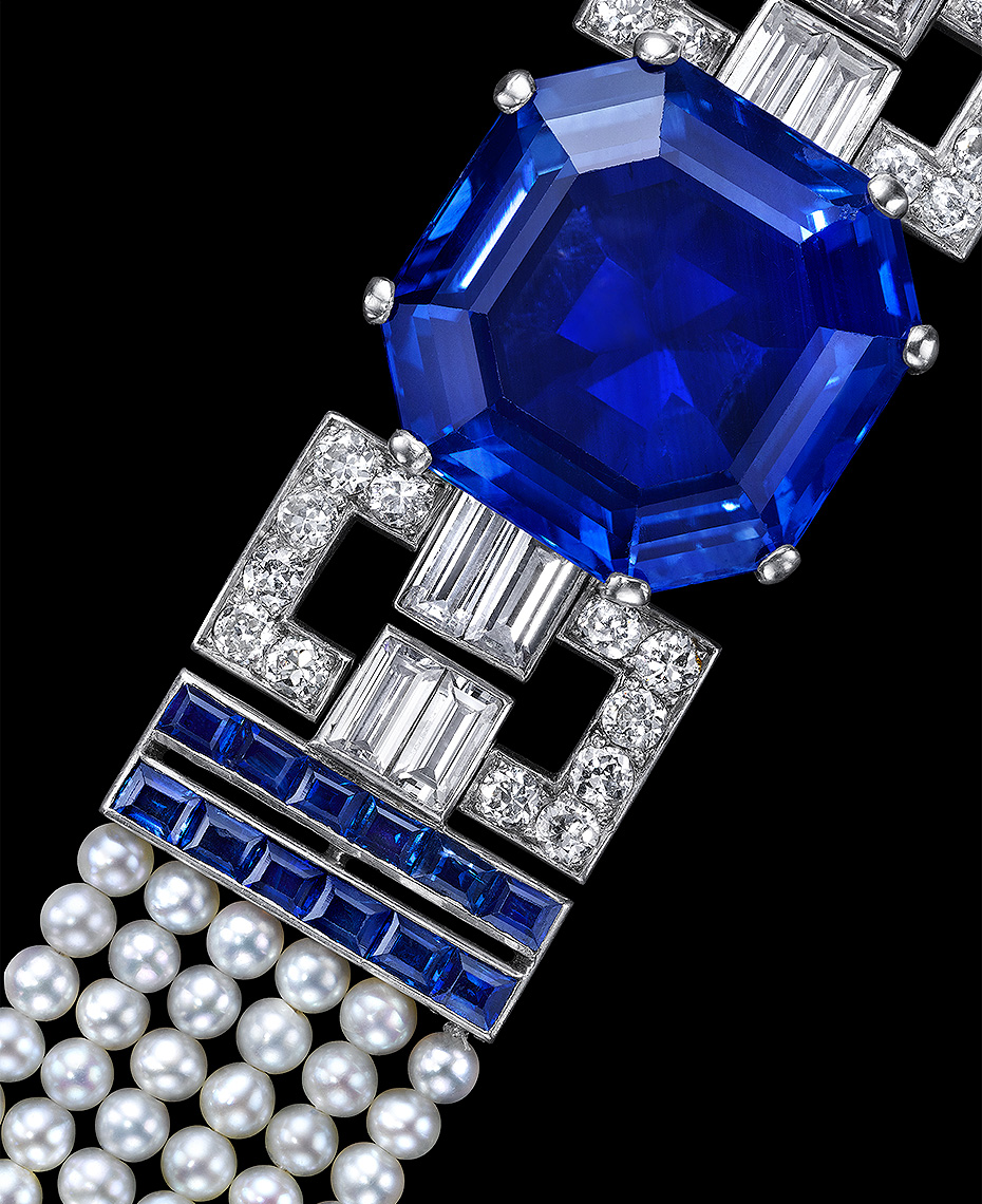 An Elegant Art Deco Sapphire, Diamond and Pearl Bracelet, by Cartier